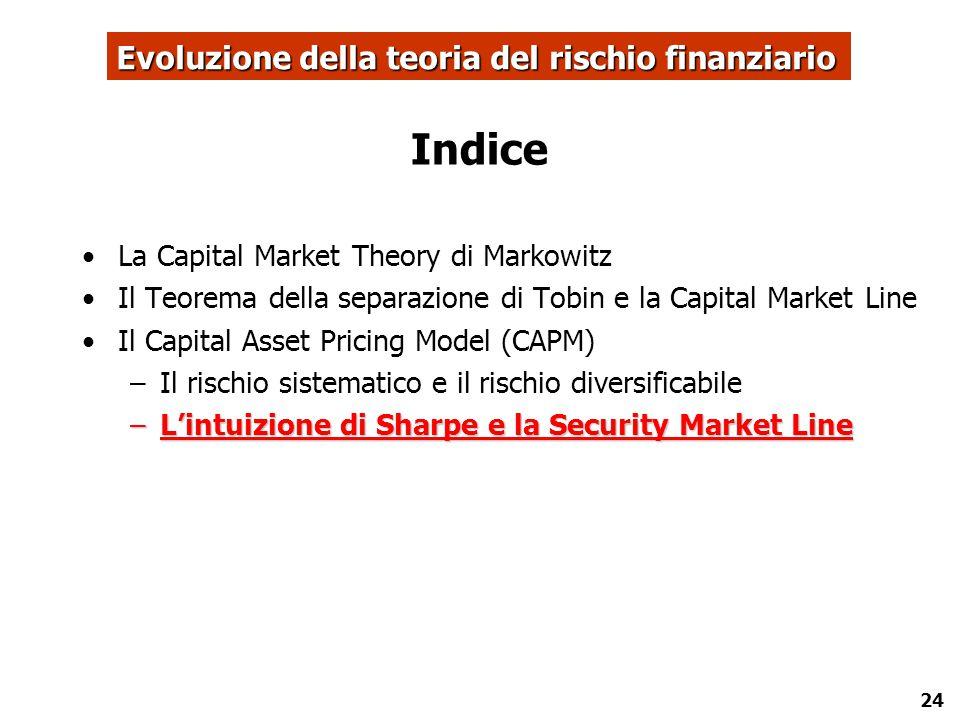 24 Indice La Capital Market Theory di Markowitz Il Teorema della separazione di Tobin e la Capital Market Line Il Capital Asset Pricing Model (CAPM) –