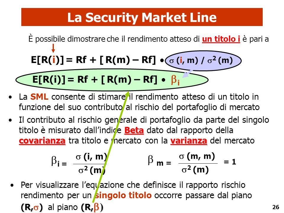 26 E[R(i)] = Rf + [ R(m) – Rf]   i La Security Market Line (R,  ) (R,  )Per visualizzare l'equazione che definisce il rapporto rischio rendimento
