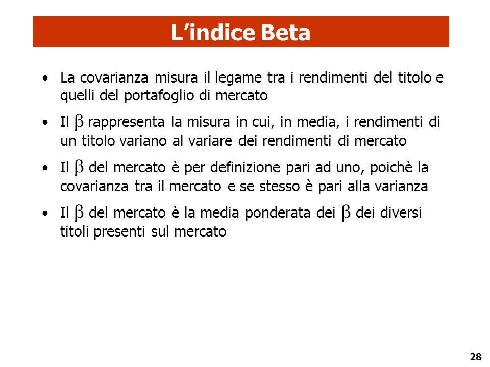 28 L'indice Beta La covarianza misura il legame tra i rendimenti del titolo e quelli del portafoglio di mercato Il  rappresenta la misura in cui, in