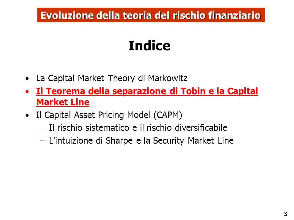 3 Indice La Capital Market Theory di Markowitz Il Teorema della separazione di Tobin e la Capital Market LineIl Teorema della separazione di Tobin e l
