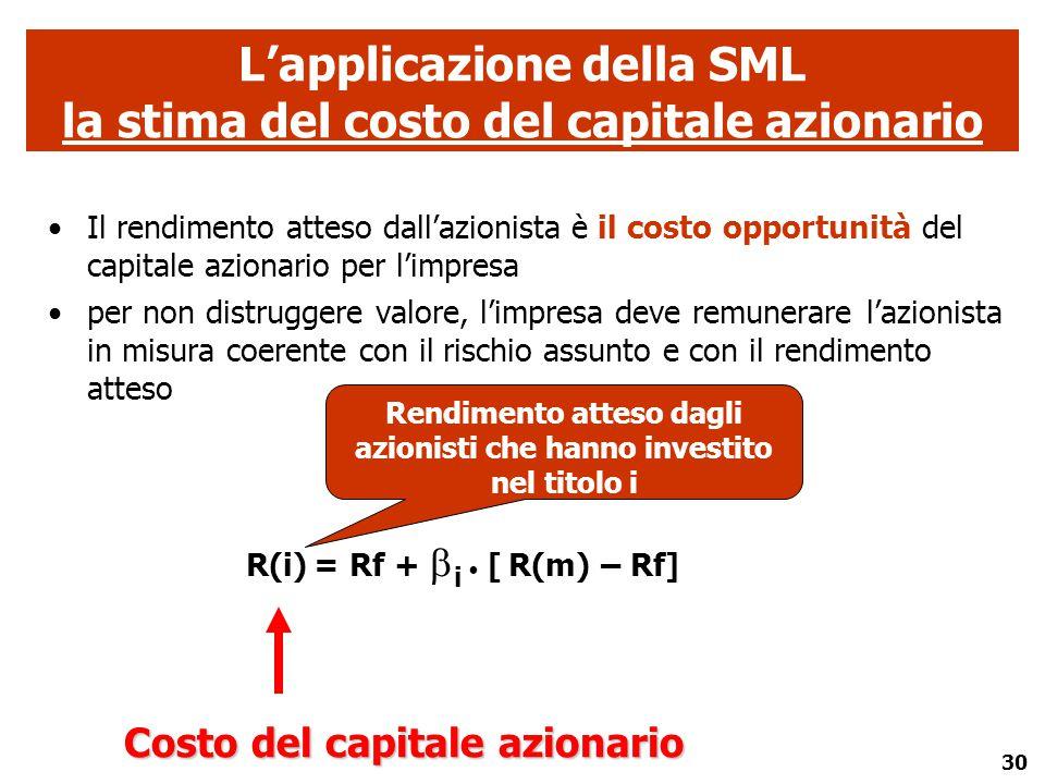 30 Il rendimento atteso dall'azionista è il costo opportunità del capitale azionario per l'impresa per non distruggere valore, l'impresa deve remunera
