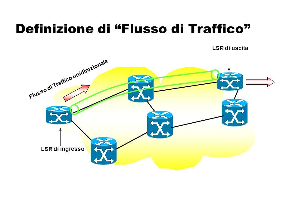 """Definizione di """"Flusso di Traffico"""" LSP 1 LSP 2 Flusso di Traffico LSP 1 + LSP 2 = Tunnel IT LSP 1 + LSP 2 = Tunnel IT LSR di ingresso LSR di uscita"""