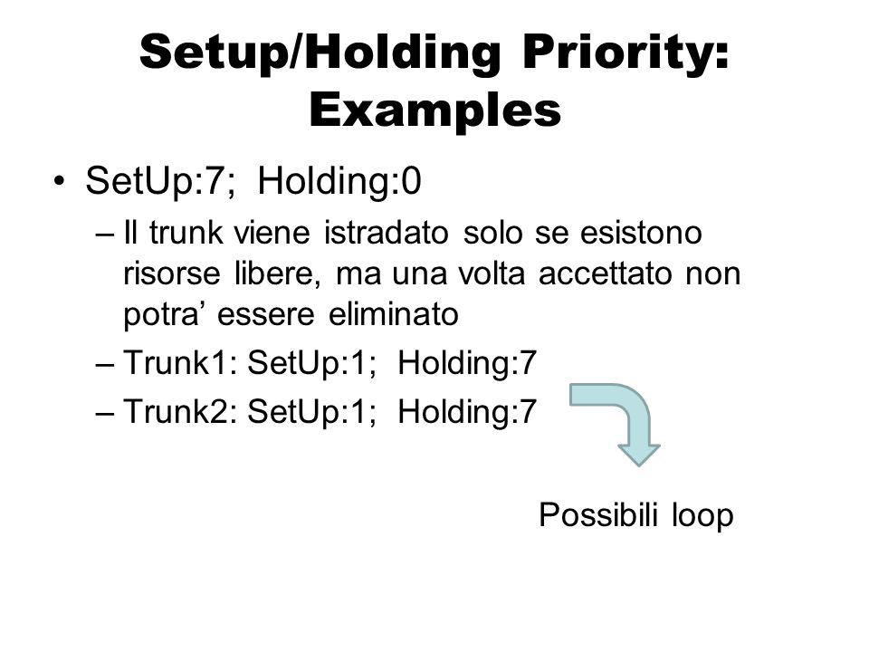 Attributi: Setup/Holding Priority Definisce un ordine di priorità per i nuovi Traffic Trunk (traffico in arrivo)  Setup Priority: Definisce un ordine di priorità per i nuovi Traffic Trunk (traffico in arrivo) Definisce un ordine di priorità per i Traffic Trunk attivi  Holding Priority: Definisce un ordine di priorità per i Traffic Trunk attivi B(1)=80 Mbit/s H(1)=7 B(2)=80 Mbit/s S(2)=5, H(2)=5 LSR 1 LSR 2 LSR 3LSR 4 Banda prenotabile per Tunnel IT = 100 Mbit/s Ricorda: priority value alto=priorita' bassa .