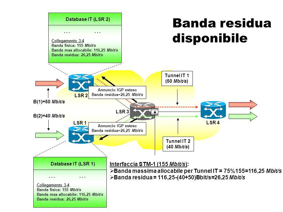 Quali informazioni distribuire  Banda residua disponibile  Banda su un'interfaccia fisica non ancora allocata a un Tunnel IT (LSP)  Classi amministrative di appartenenza  Metriche IT.
