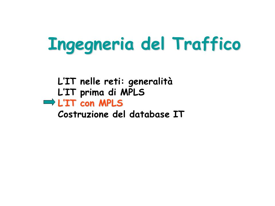 """ Può il problema essere risolto dal """"Load Sharing"""" (es. OSPF, IS-IS) ? NO !!! STM-1 STM-4 STM-16 Routing IP classico: limiti (3/3) R1 R3 R2 550 Mbit/"""