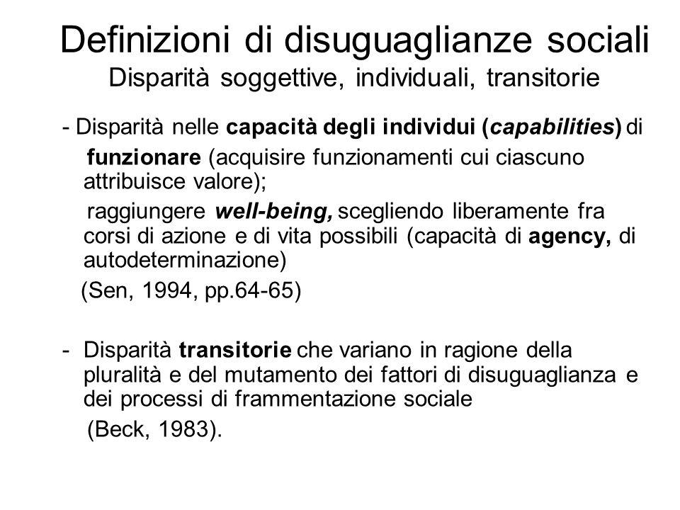 Definizioni di disuguaglianze sociali oggettive/ soggettive -Disparità nella dotazione di risorse che danno luogo a opportunità di vita diverse, intese come possibilità di fare quello che si desidera fare o di avere un buona qualità della vita (Ballarino, Cobalti, 2003, p.30).