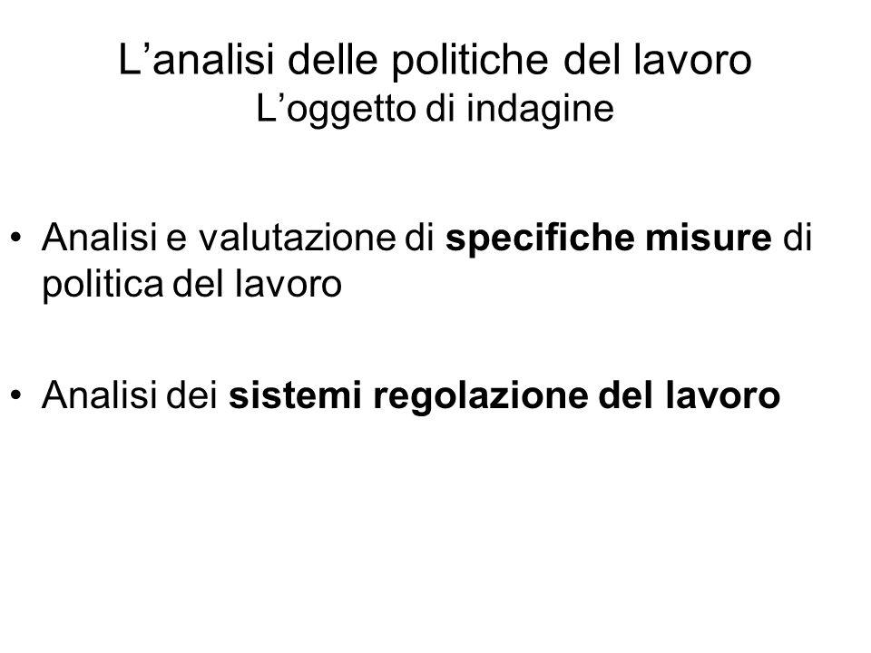 L'analisi delle politiche del lavoro L'oggetto di indagine Analisi e valutazione di specifiche misure di politica del lavoro Analisi dei sistemi regol