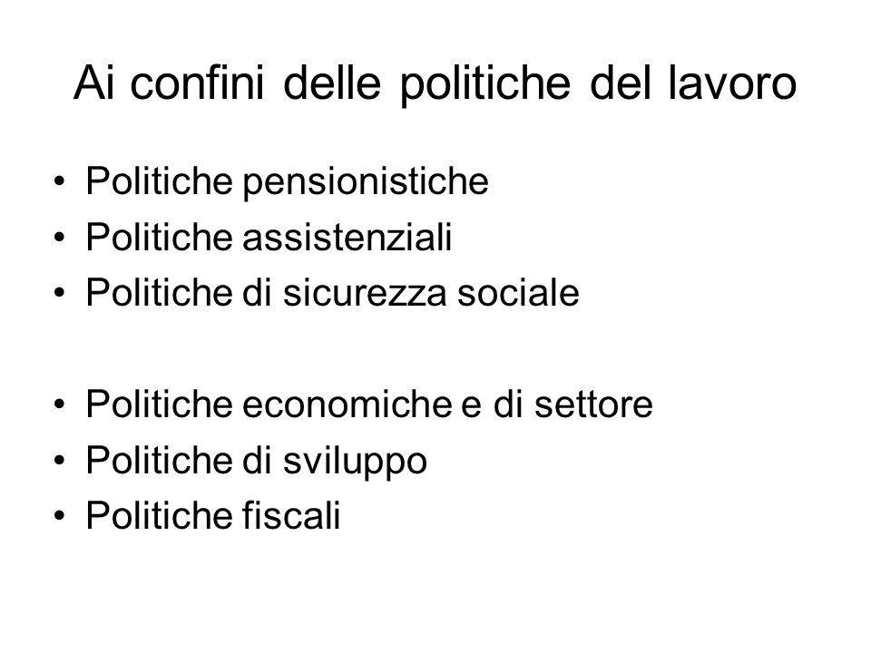 Ai confini delle politiche del lavoro Politiche pensionistiche Politiche assistenziali Politiche di sicurezza sociale Politiche economiche e di settor