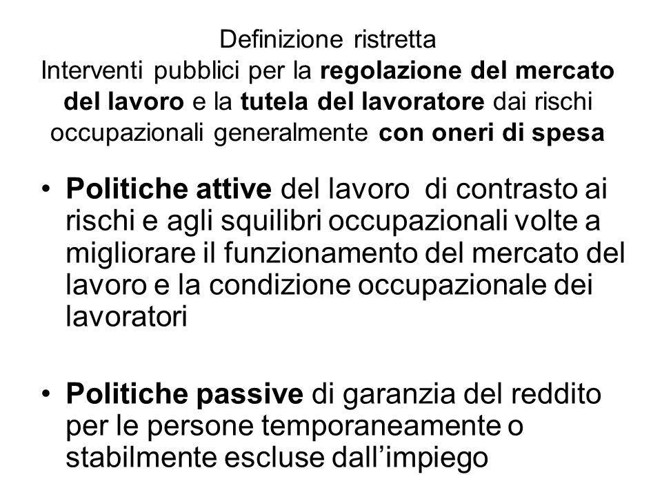 Definizione ristretta Interventi pubblici per la regolazione del mercato del lavoro e la tutela del lavoratore dai rischi occupazionali generalmente c