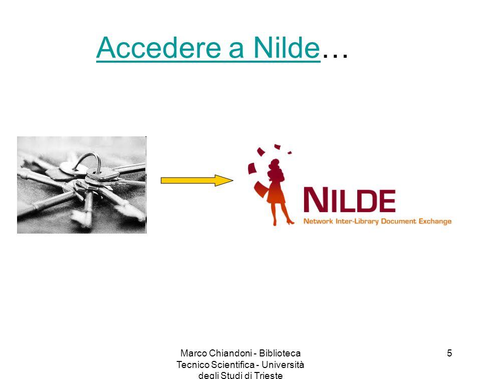 Marco Chiandoni - Biblioteca Tecnico Scientifica - Università degli Studi di Trieste 6 Come accedo a Nilde 4.0.