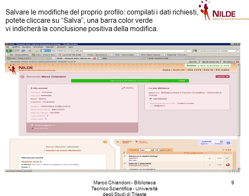 Marco Chiandoni - Biblioteca Tecnico Scientifica - Università degli Studi di Trieste 20 Vediamo l'opzione A Clicchiamo su Inserisci