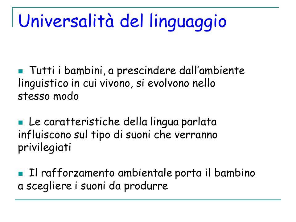 Universalità del linguaggio Tutti i bambini, a prescindere dall'ambiente linguistico in cui vivono, si evolvono nello stesso modo Le caratteristiche della lingua parlata influiscono sul tipo di suoni che verranno privilegiati Il rafforzamento ambientale porta il bambino a scegliere i suoni da produrre