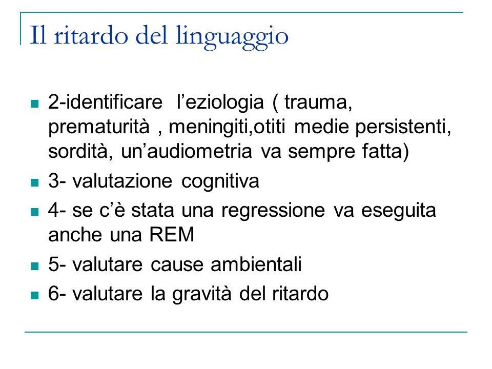 Il ritardo del linguaggio 2-identificare l'eziologia ( trauma, prematurità, meningiti,otiti medie persistenti, sordità, un'audiometria va sempre fatta) 3- valutazione cognitiva 4- se c'è stata una regressione va eseguita anche una REM 5- valutare cause ambientali 6- valutare la gravità del ritardo