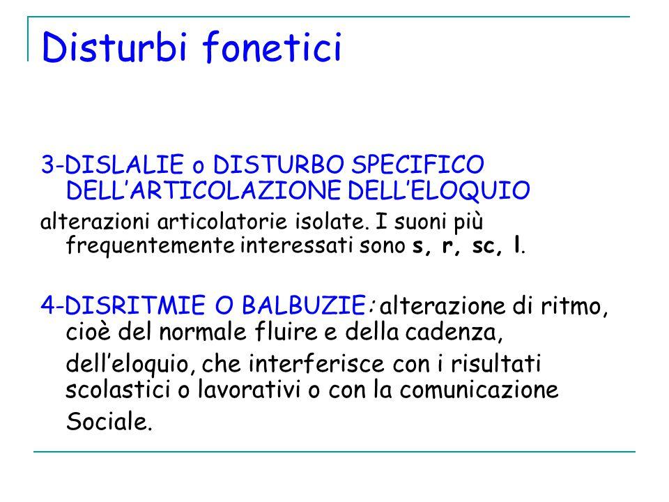 Disturbi fonetici 3-DISLALIE o DISTURBO SPECIFICO DELL'ARTICOLAZIONE DELL'ELOQUIO alterazioni articolatorie isolate.