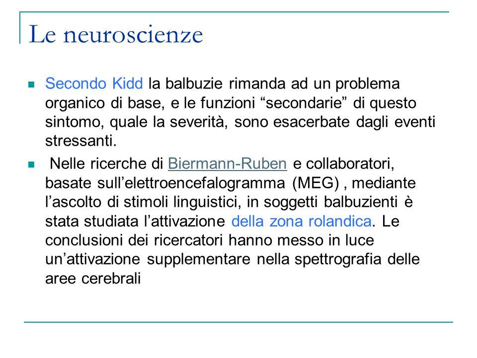 Le neuroscienze Secondo Kidd la balbuzie rimanda ad un problema organico di base, e le funzioni secondarie di questo sintomo, quale la severità, sono esacerbate dagli eventi stressanti.