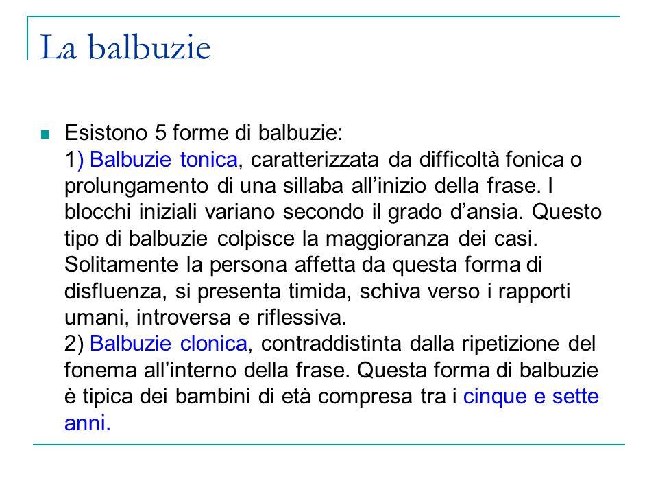 La balbuzie Esistono 5 forme di balbuzie: 1) Balbuzie tonica, caratterizzata da difficoltà fonica o prolungamento di una sillaba all'inizio della frase.