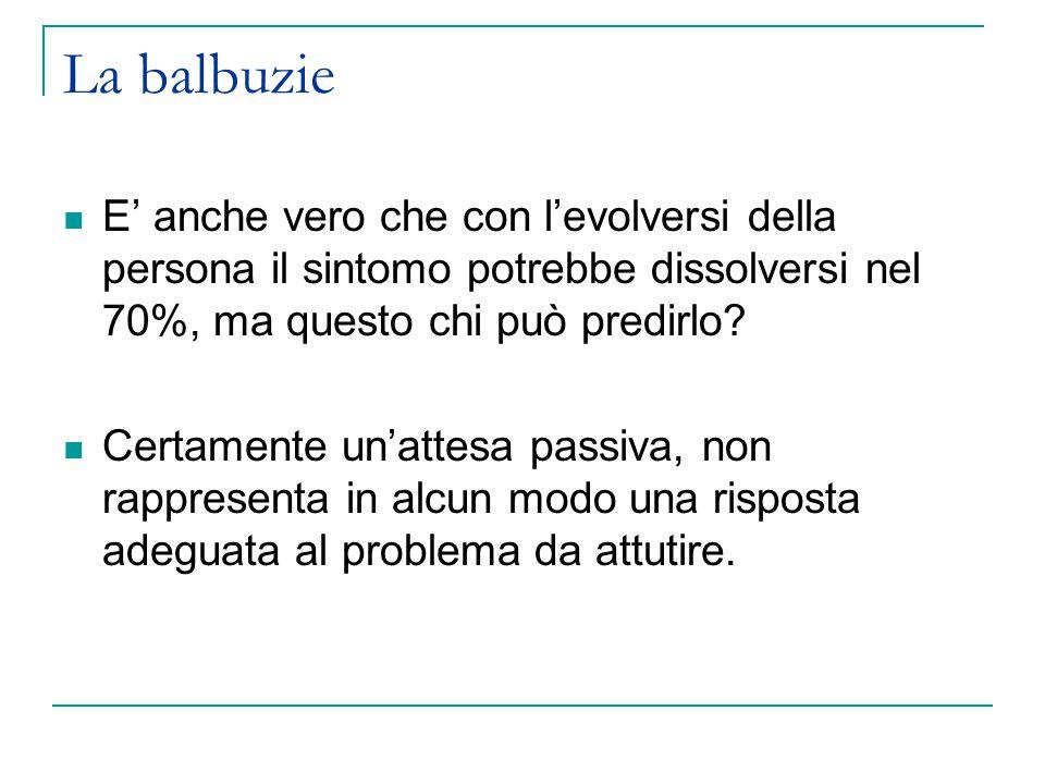 La balbuzie E' anche vero che con l'evolversi della persona il sintomo potrebbe dissolversi nel 70%, ma questo chi può predirlo.