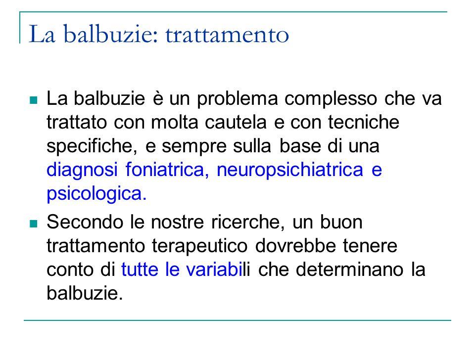 La balbuzie: trattamento La balbuzie è un problema complesso che va trattato con molta cautela e con tecniche specifiche, e sempre sulla base di una diagnosi foniatrica, neuropsichiatrica e psicologica.