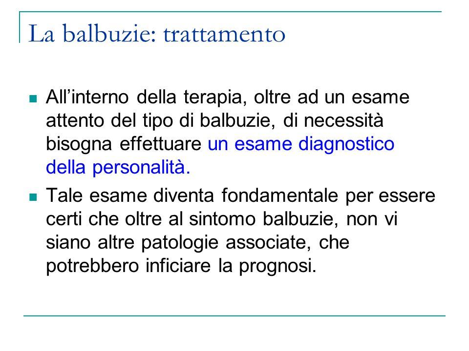 La balbuzie: trattamento All'interno della terapia, oltre ad un esame attento del tipo di balbuzie, di necessità bisogna effettuare un esame diagnostico della personalità.