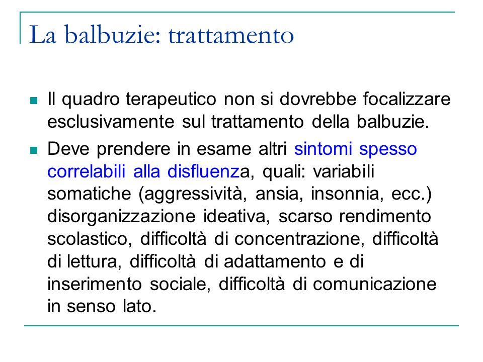La balbuzie: trattamento Il quadro terapeutico non si dovrebbe focalizzare esclusivamente sul trattamento della balbuzie.