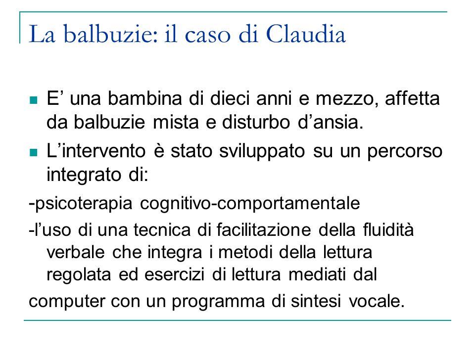 La balbuzie: il caso di Claudia E' una bambina di dieci anni e mezzo, affetta da balbuzie mista e disturbo d'ansia.