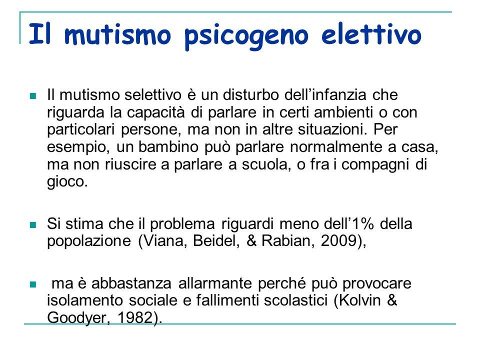 Il mutismo psicogeno elettivo Il mutismo selettivo è un disturbo dell'infanzia che riguarda la capacità di parlare in certi ambienti o con particolari persone, ma non in altre situazioni.