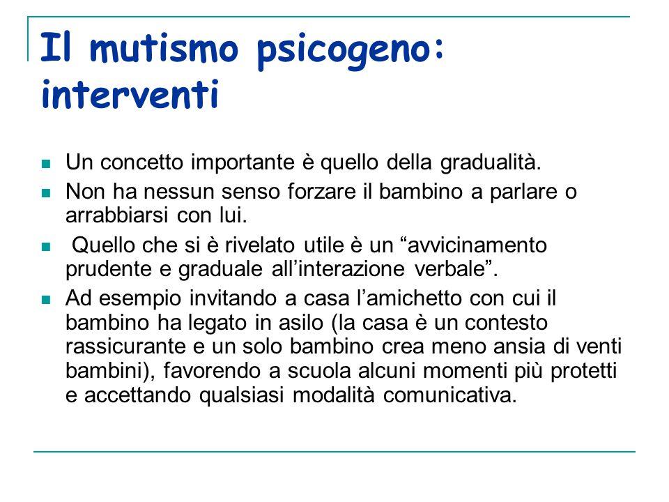 Il mutismo psicogeno: interventi Un concetto importante è quello della gradualità.
