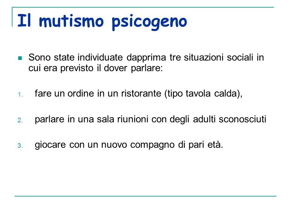 Il mutismo psicogeno Sono state individuate dapprima tre situazioni sociali in cui era previsto il dover parlare: 1.