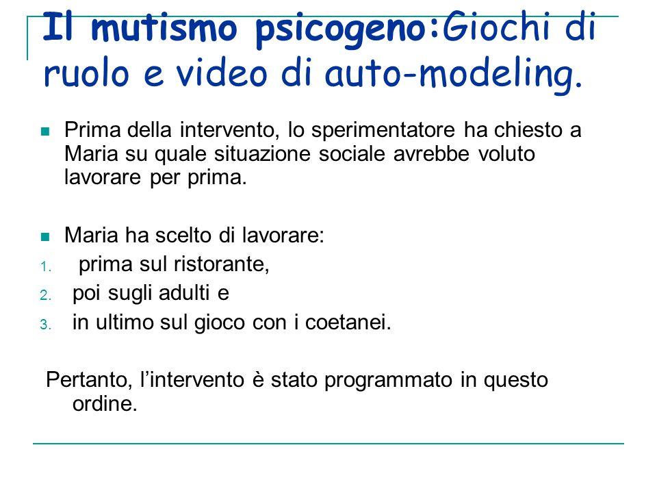 Il mutismo psicogeno:Giochi di ruolo e video di auto-modeling.