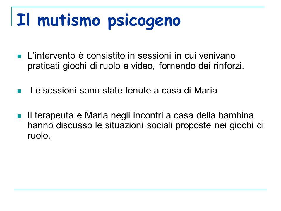 Il mutismo psicogeno L'intervento è consistito in sessioni in cui venivano praticati giochi di ruolo e video, fornendo dei rinforzi.