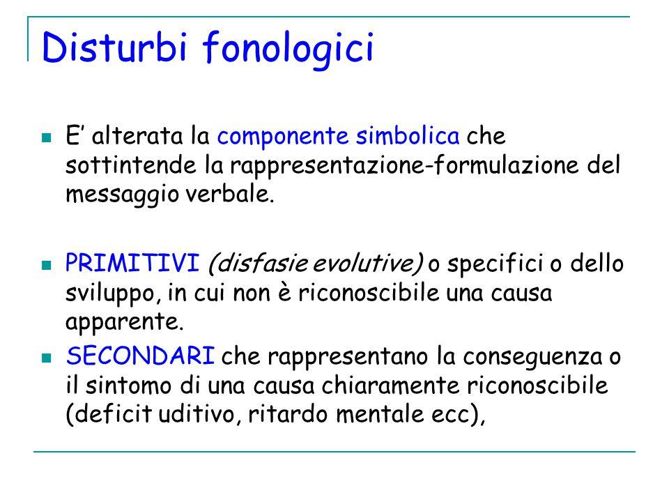 Disturbi fonologici E' alterata la componente simbolica che sottintende la rappresentazione-formulazione del messaggio verbale.