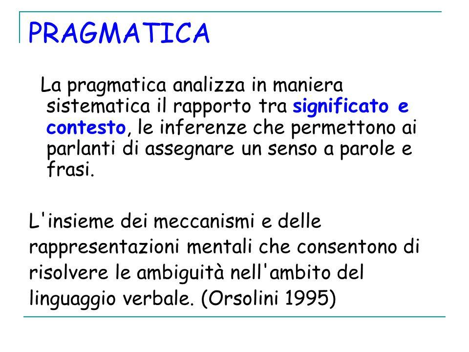 PRAGMATICA La pragmatica analizza in maniera sistematica il rapporto tra significato e contesto, le inferenze che permettono ai parlanti di assegnare un senso a parole e frasi.