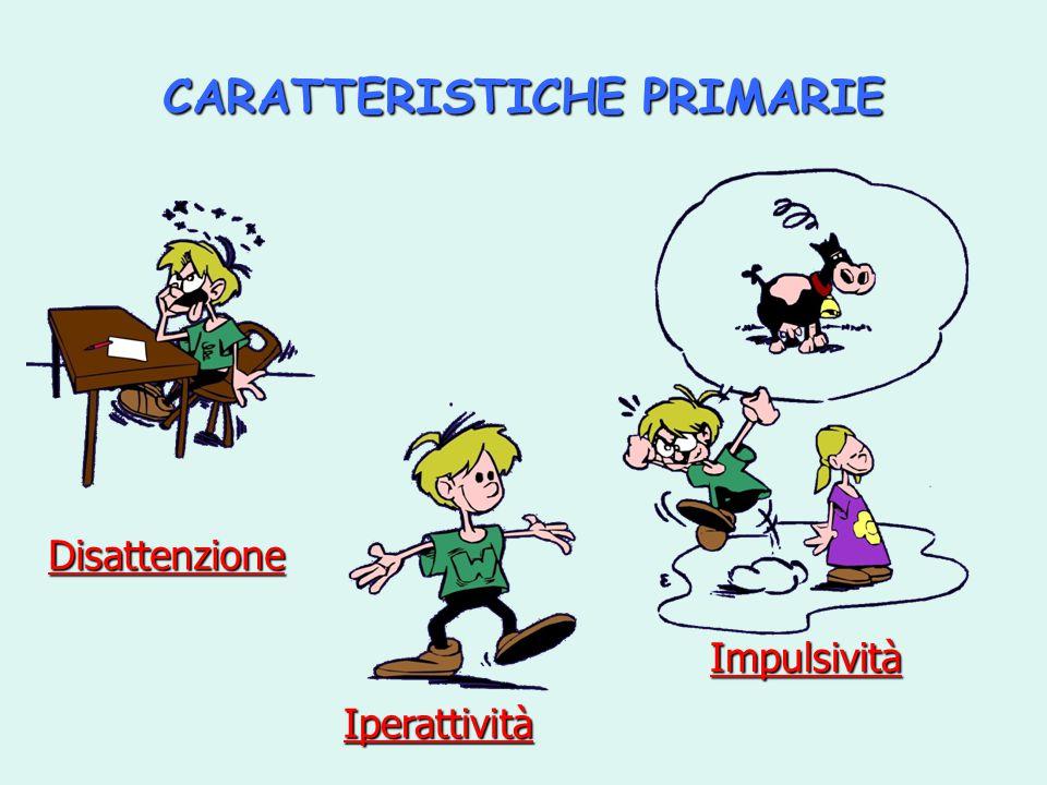 CARATTERISTICHE PRIMARIE Disattenzione Iperattività Impulsività