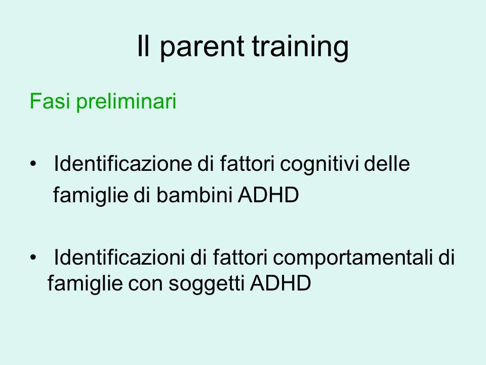 Il parent training Fasi preliminari Identificazione di fattori cognitivi delle famiglie di bambini ADHD Identificazioni di fattori comportamentali di famiglie con soggetti ADHD