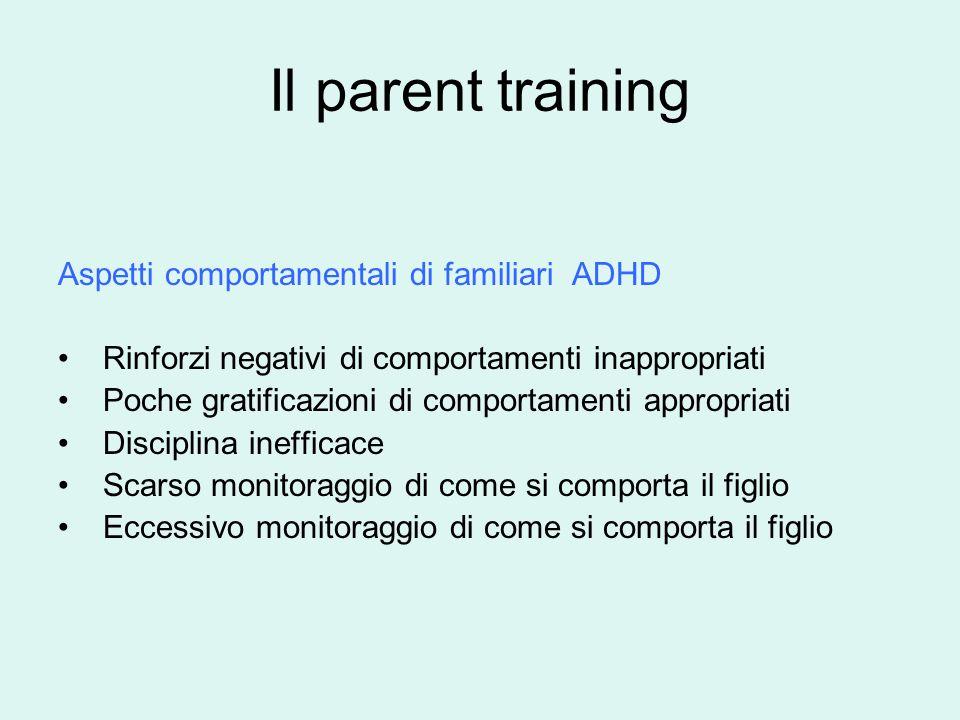 Il parent training Aspetti comportamentali di familiari ADHD Rinforzi negativi di comportamenti inappropriati Poche gratificazioni di comportamenti appropriati Disciplina inefficace Scarso monitoraggio di come si comporta il figlio Eccessivo monitoraggio di come si comporta il figlio