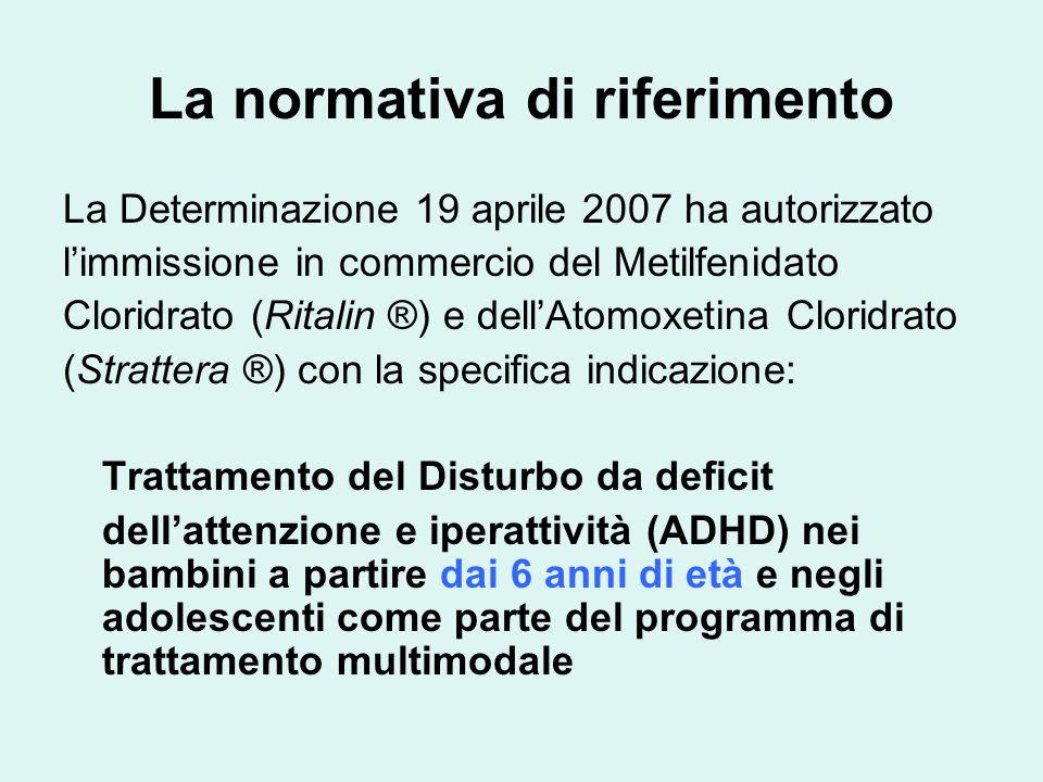 La normativa di riferimento La Determinazione 19 aprile 2007 ha autorizzato l'immissione in commercio del Metilfenidato Cloridrato (Ritalin ®) e dell'Atomoxetina Cloridrato (Strattera ®) con la specifica indicazione: Trattamento del Disturbo da deficit dell'attenzione e iperattività (ADHD) nei bambini a partire dai 6 anni di età e negli adolescenti come parte del programma di trattamento multimodale