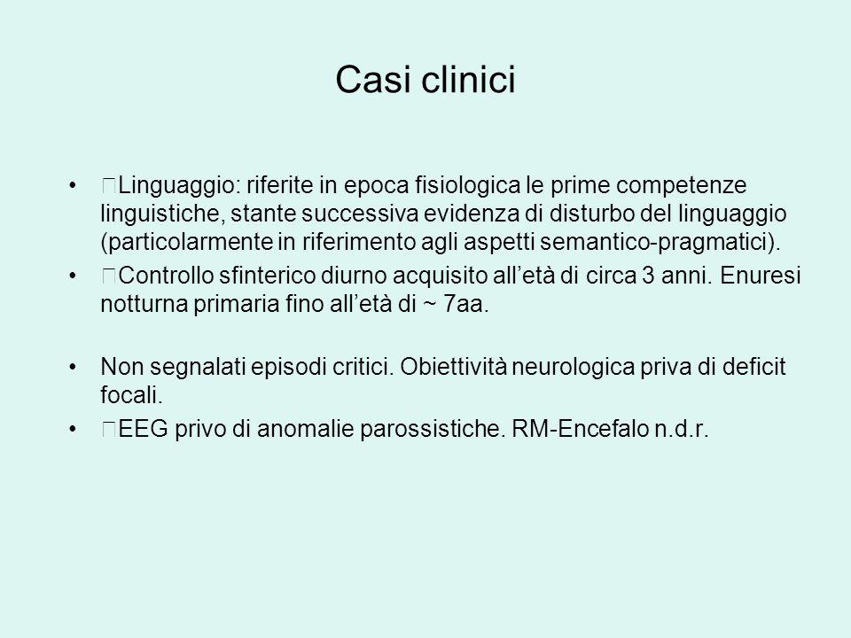 Casi clinici Linguaggio: riferite in epoca fisiologica le prime competenze linguistiche, stante successiva evidenza di disturbo del linguaggio (particolarmente in riferimento agli aspetti semantico-pragmatici).