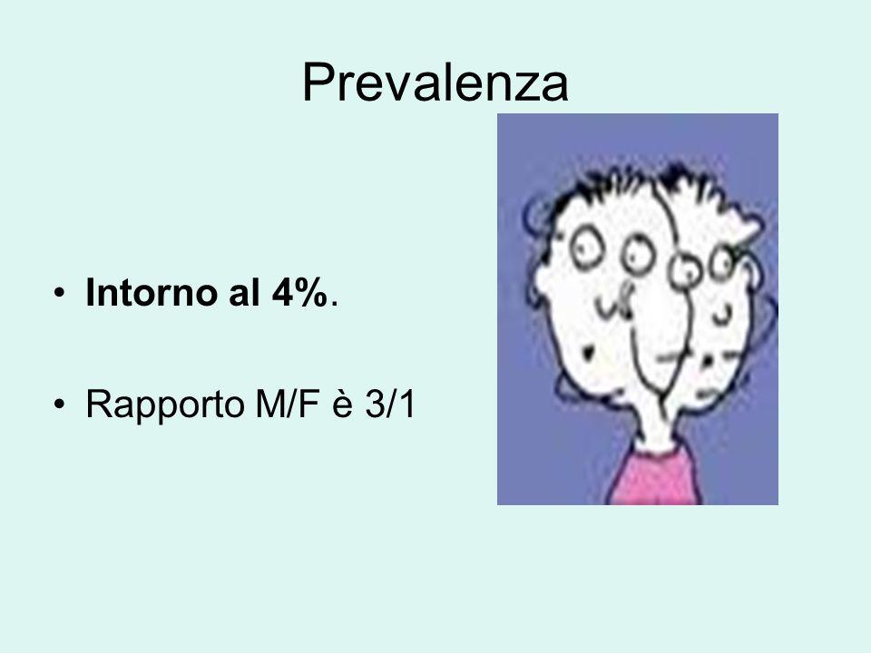 Prevalenza Intorno al 4%. Rapporto M/F è 3/1