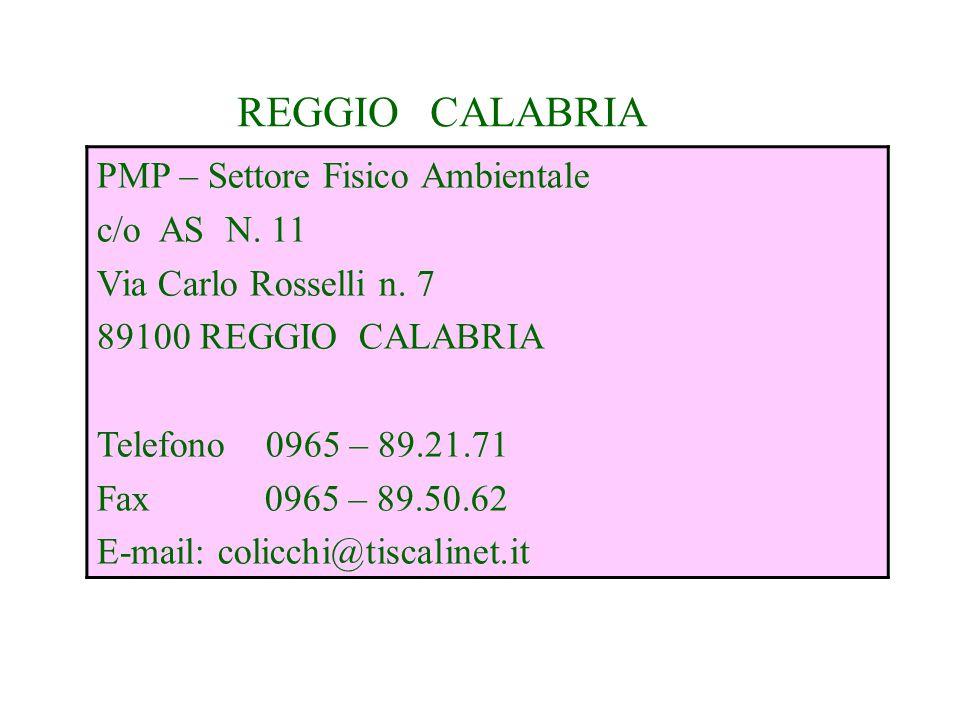 REGGIO CALABRIA PMP – Settore Fisico Ambientale c/o AS N. 11 Via Carlo Rosselli n. 7 89100 REGGIO CALABRIA Telefono 0965 – 89.21.71 Fax 0965 – 89.50.6