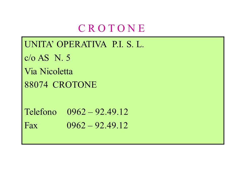 C R O T O N E UNITA' OPERATIVA P.I. S. L. c/o AS N. 5 Via Nicoletta 88074 CROTONE Telefono 0962 – 92.49.12 Fax 0962 – 92.49.12