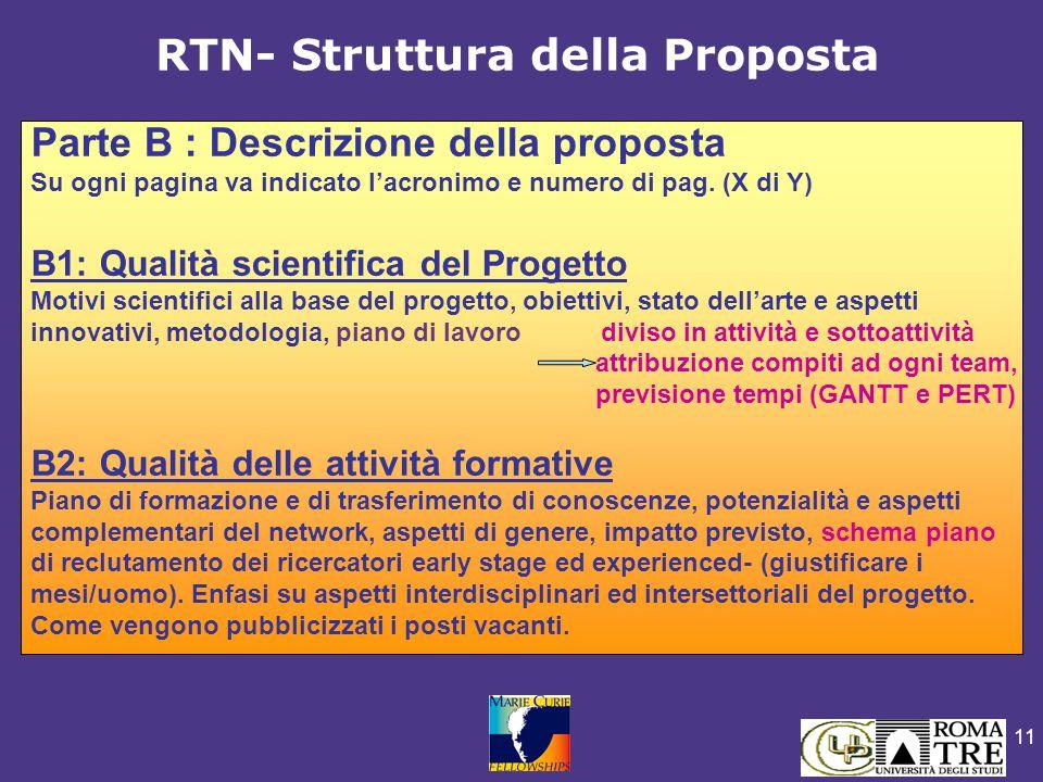 11 RTN- Struttura della Proposta Parte B : Descrizione della proposta Su ogni pagina va indicato l'acronimo e numero di pag.