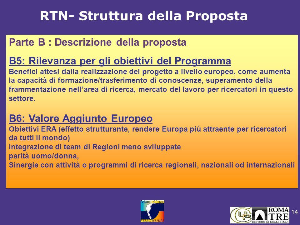 14 Parte B : Descrizione della proposta B5: Rilevanza per gli obiettivi del Programma Benefici attesi dalla realizzazione del progetto a livello europeo, come aumenta la capacità di formazione/trasferimento di conoscenze, superamento della frammentazione nell'area di ricerca, mercato del lavoro per ricercatori in questo settore.