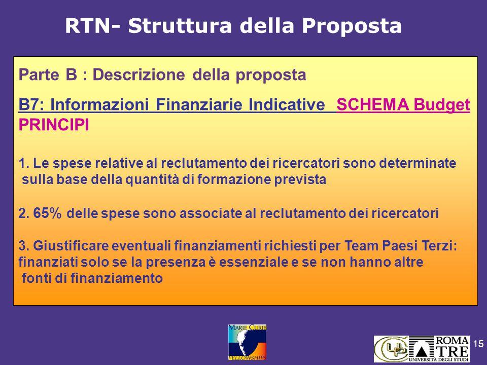 15 Parte B : Descrizione della proposta B7: Informazioni Finanziarie Indicative SCHEMA Budget PRINCIPI 1. Le spese relative al reclutamento dei ricerc