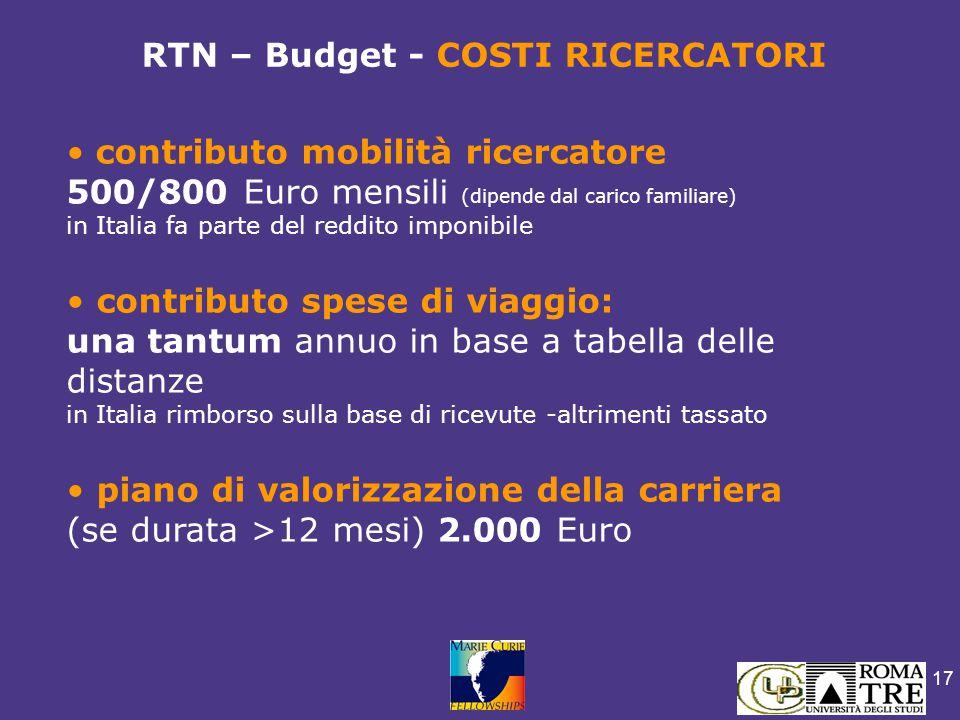 17 contributo mobilità ricercatore 500/800 Euro mensili (dipende dal carico familiare) in Italia fa parte del reddito imponibile contributo spese di v