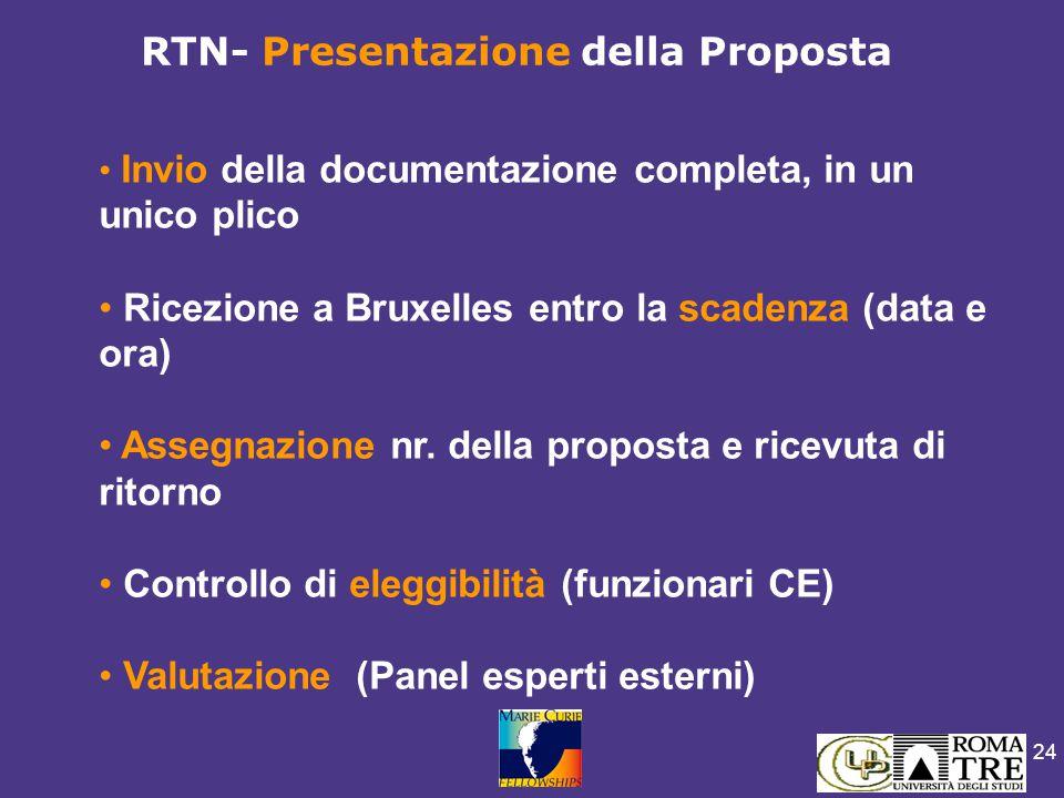 24 Invio della documentazione completa, in un unico plico Ricezione a Bruxelles entro la scadenza (data e ora) Assegnazione nr. della proposta e ricev