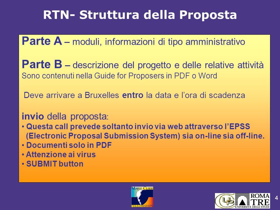 4 RTN- Struttura della Proposta Parte A – moduli, informazioni di tipo amministrativo Parte B – descrizione del progetto e delle relative attività Son