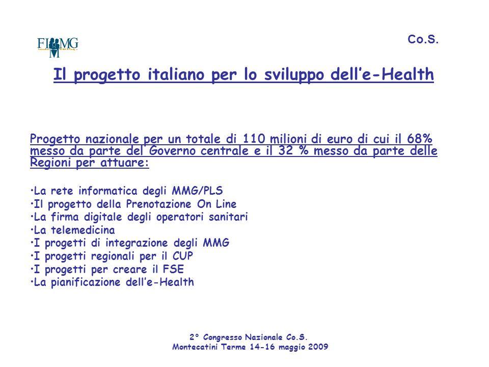 Co.S. Il progetto italiano per lo sviluppo dell'e-Health Progetto nazionale per un totale di 110 milioni di euro di cui il 68% messo da parte del Gove