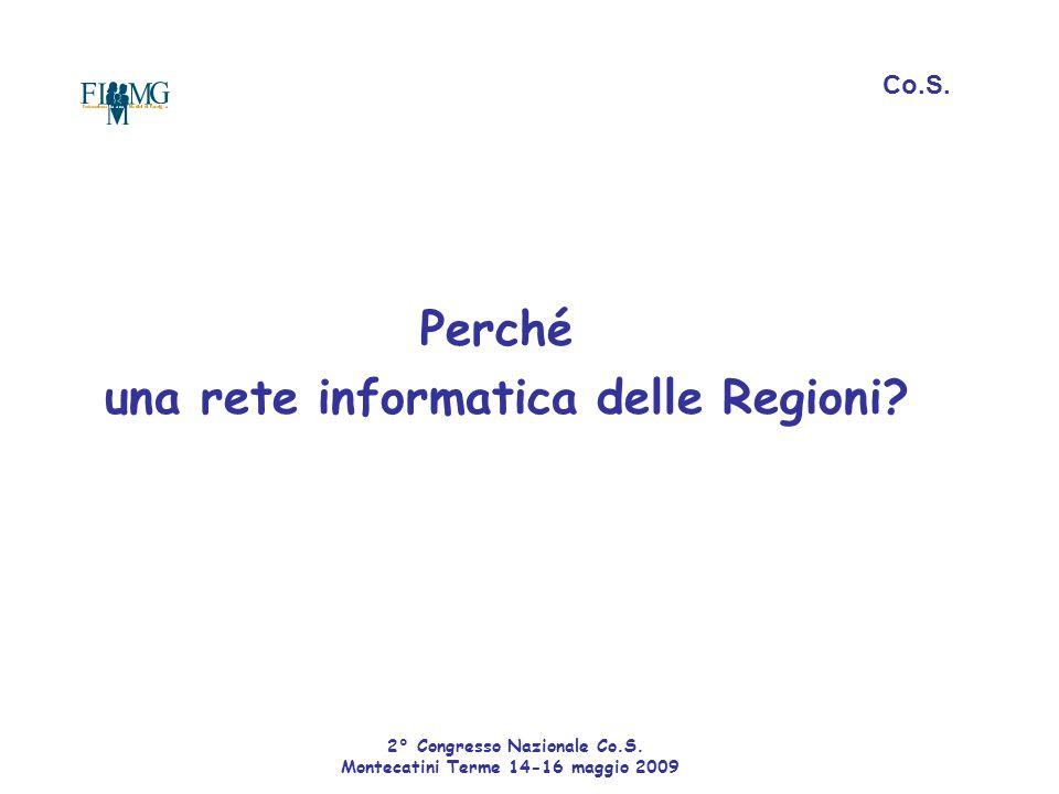 Perché una rete informatica delle Regioni? Co.S. 2° Congresso Nazionale Co.S. Montecatini Terme 14-16 maggio 2009