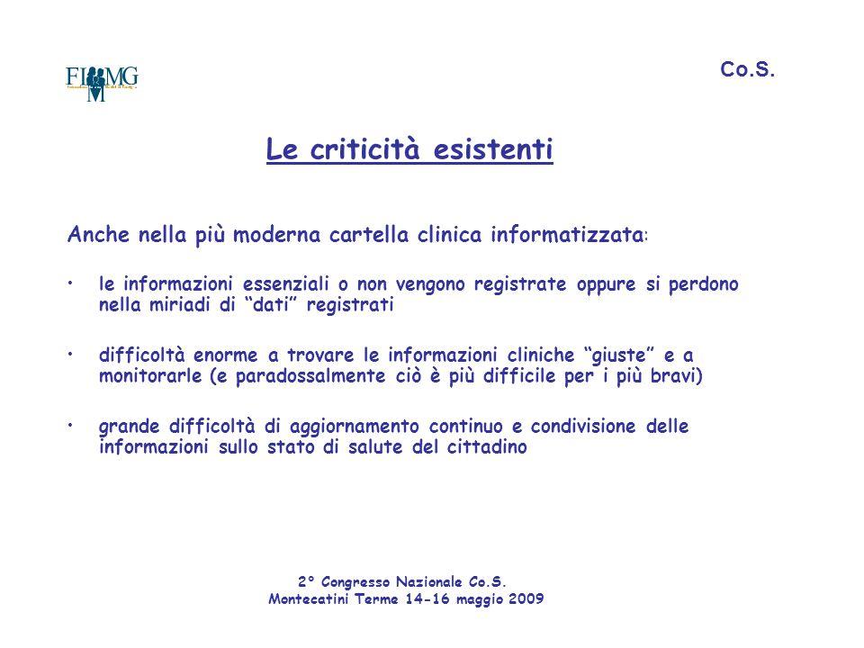 Le criticità esistenti Anche nella più moderna cartella clinica informatizzata : le informazioni essenziali o non vengono registrate oppure si perdono