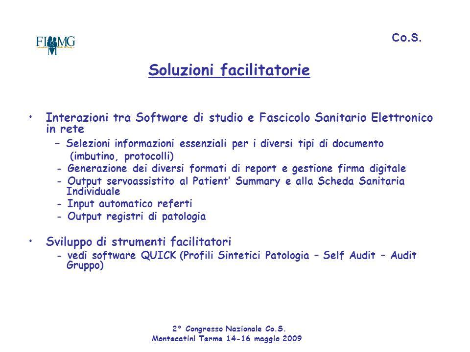 Soluzioni facilitatorie Interazioni tra Software di studio e Fascicolo Sanitario Elettronico in rete - Selezioni informazioni essenziali per i diversi